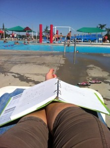 "(That's me working at my ""summer office"" last year.)"