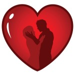 Heart and silhouette - clipart