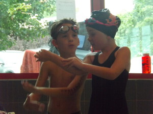 Christopher and Maddie discussing their relay
