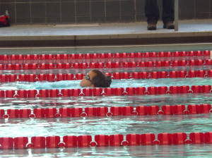 Keeping his head above water - barely - during his freestyle relay