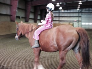 Emily riding bareback last Sunday