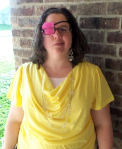Me. With my eye patch. On my way to church on Easter Sunday.