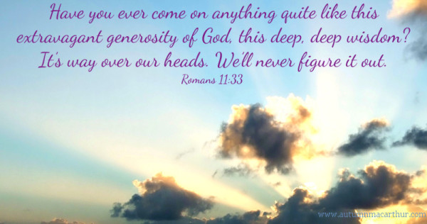 Sund shining through clouds, with Bible verse Romans 11:33