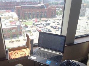 My view while I worked (and Imo's Pizza for lunch!)