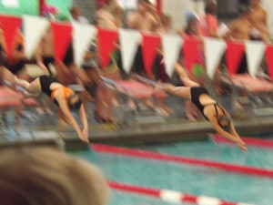 My daughter and her BFF starting their freestyle relay