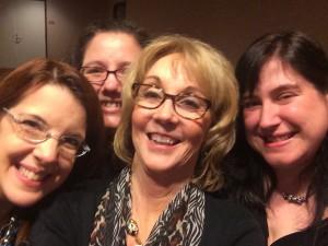 Jen Cvelbar (Jennifer A. Davids), me, Candace Calvert, Ralene Burke in my first selfie-stick pic!