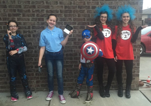 Black WIdow, Detective without her K9, Captain America, Thing 1 and Thing 2