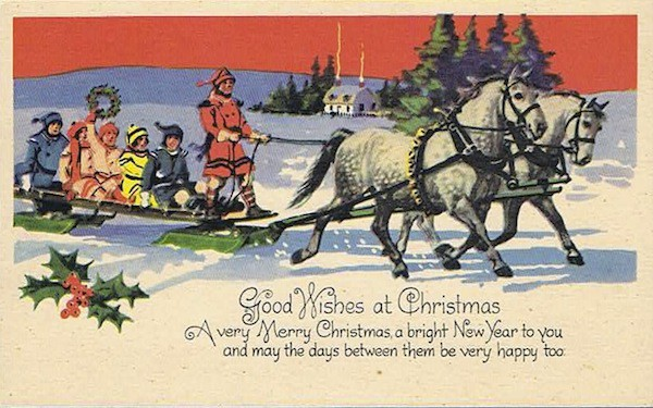 A vintage Christmas postcard from my parents' collection.