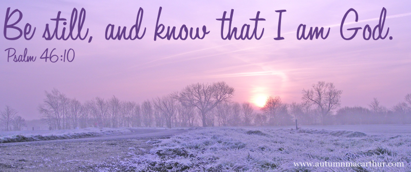 Image of snowy field with Bible verse Psalm 46:10 - Be still, and know that I am God.
