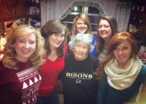 Grandma and her granddaughters...the oldest (me) on one side and the youngest (Kaleigh) on the other.
