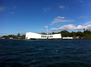 USS Arizona Memorial at Pearl Harbor.