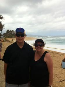 Sunset Beach with my son.
