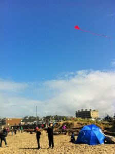 Kite flying at Lincoln City Beach.