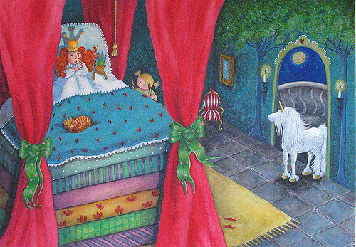 Illustration of the princess and the pea, by Sweet Pea Illustrations via Flickr.