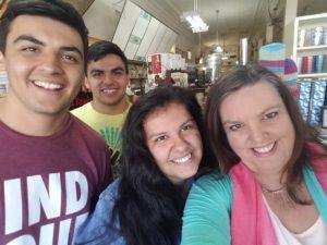 Jolene Navarro and three of four kids saying hi.
