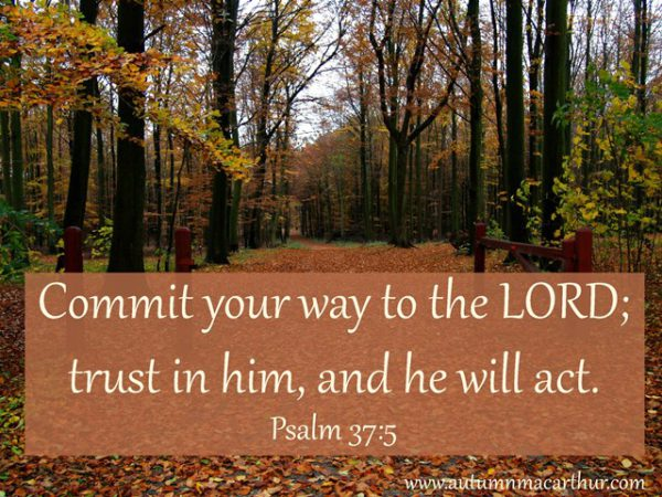 Image of path's through fall trees, with Bible verse Psalm 37:5. By Autumn Macarthur for Inspy Romance