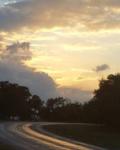 Sun setting on 474, Boerne Texas