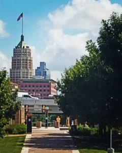 Walking Along the edge of downtown San Antonio, Texas