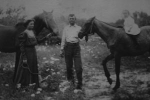 Jolene Navarro's geat grandparent, Hodge Crawford and Annie Green Crawford with a couple of his horses