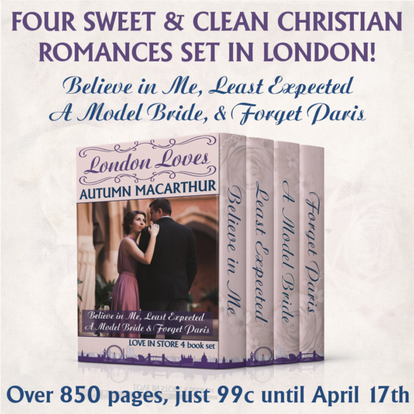 Cover image for London Loves: Four sweet and clean Christian romances from the Love in Store series by Autumn Macarthur, just 99c till April 18th, 2018