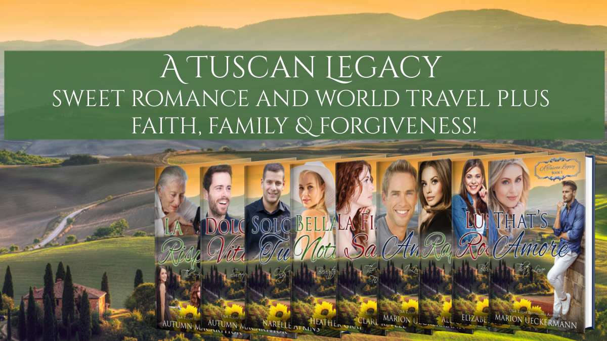 Image of a villa in Tuscany plus book covers for the A Tuscan Legacy multi-author series