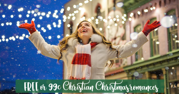 "Image of woman celebrating Christmas snow with text ""Free and 99c Christian Christmas books"" for Christmas in July 2018"