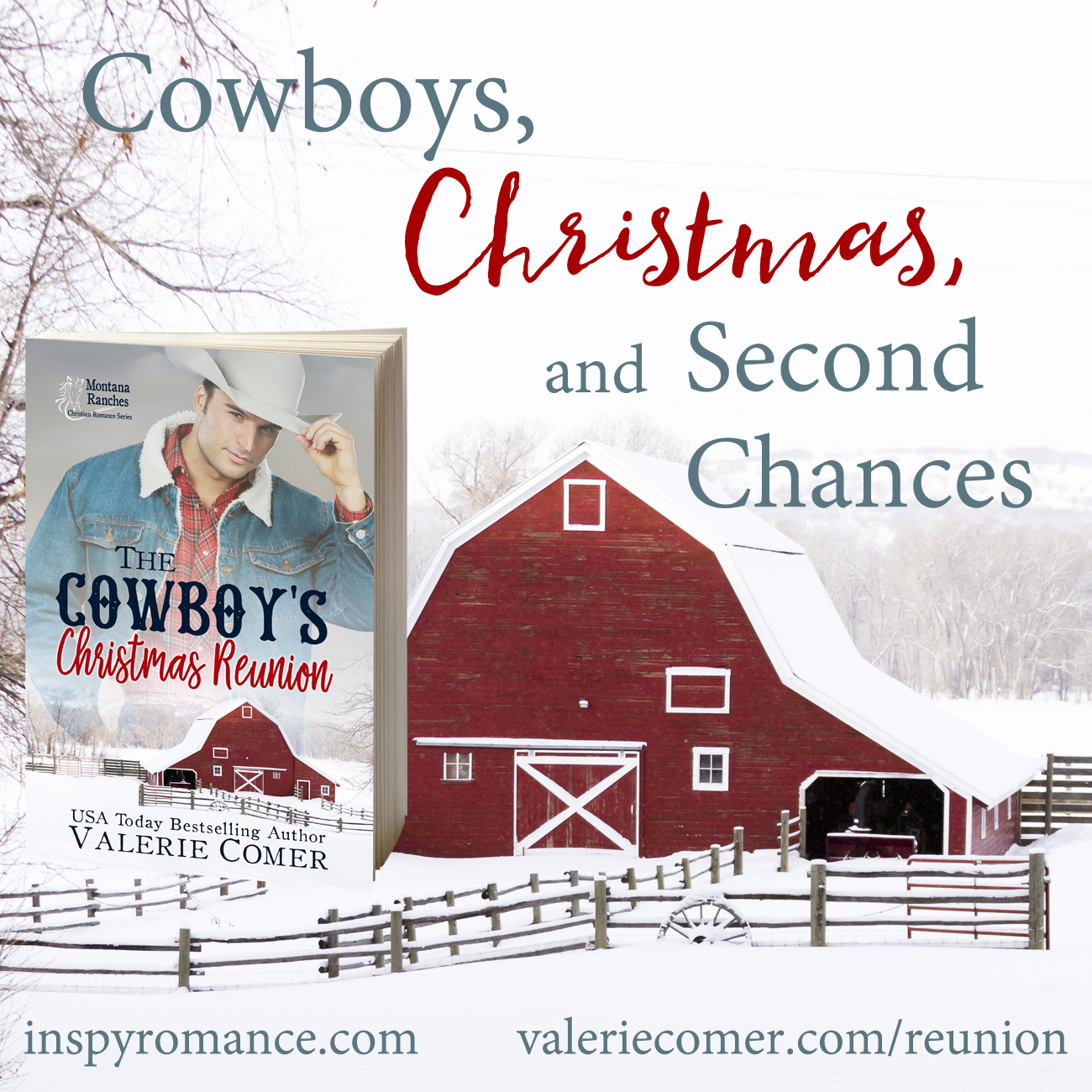 The Cowboy's Christmas Reunion, Valerie Comer, Montana Ranches Christian Romance