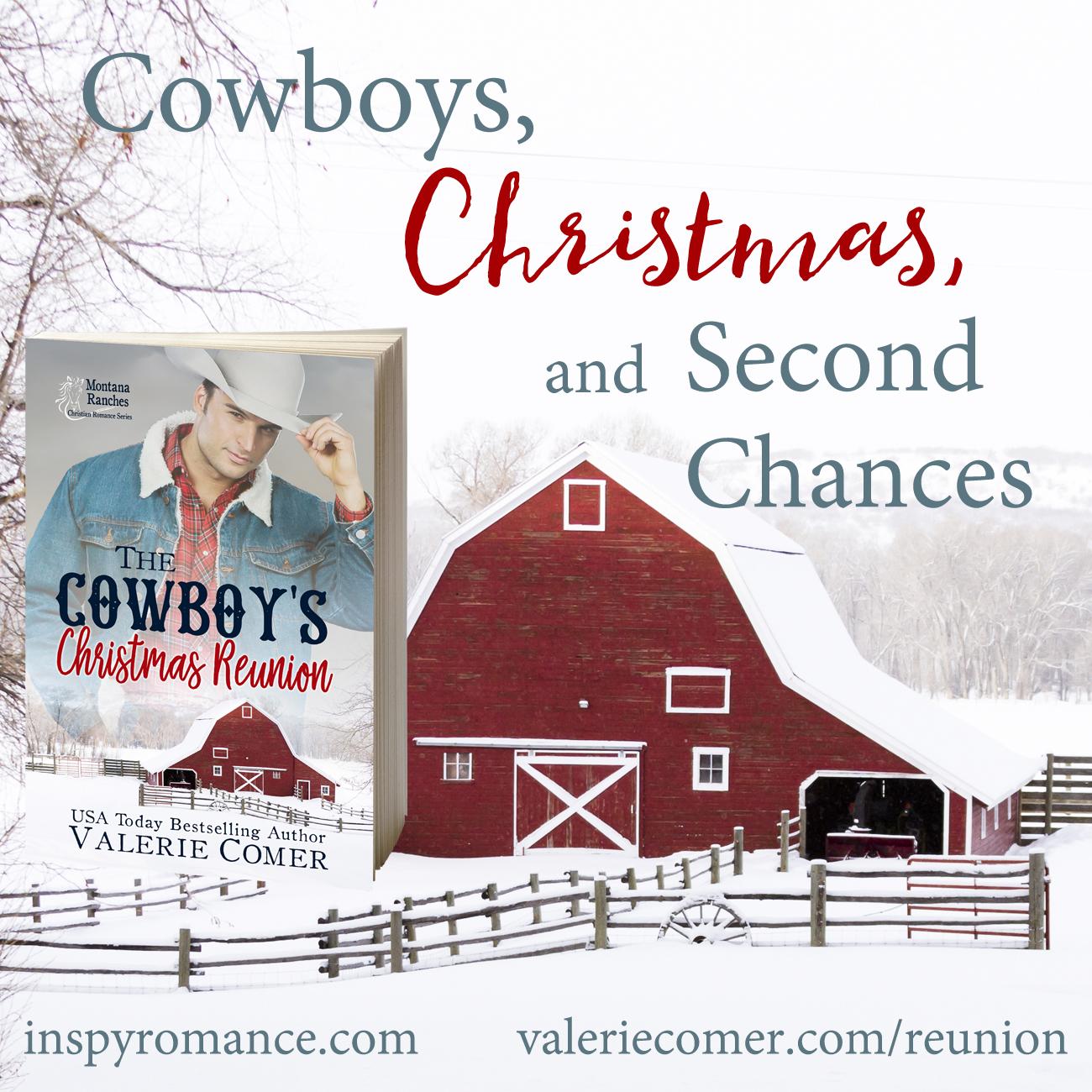The Cowboy's Christmas Reunion, Valerie Comer, Montana Ranches Christian Romance