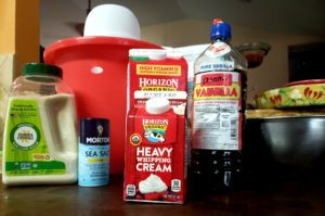 Ingredients for homemade vanilla ice cream