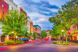 Attractive main street in a pretty small town